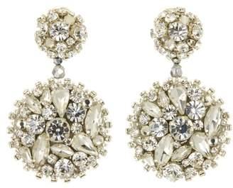 Oscar de la Renta Black Jeweled Disk Earrings