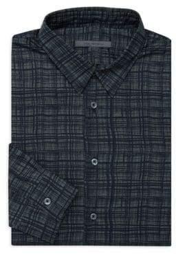 John Varvatos Classic-Fit Plaid Dress Shirt