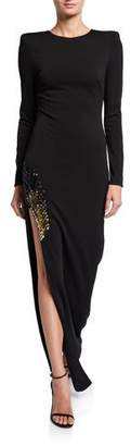HANEY Gia Long-Sleeve Side-Slit Gown w/ Embellishment