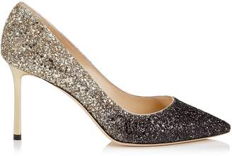 Jimmy Choo ROMY 85 Black and Nude Coarse Glitter Degrade Pumps