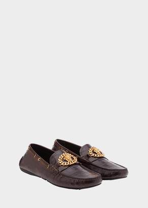Versace Mock Croc Medusa Chain Loafers