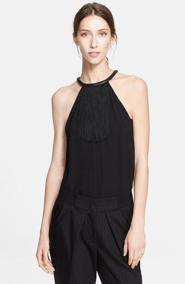Yigal Azrouel Fringed Silk Halter Top