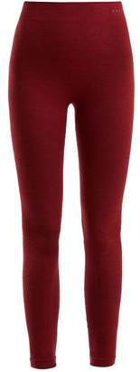 Falke Wool Blend Performance Leggings - Womens - Burgundy
