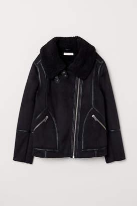 H&M Pile-lined Biker Jacket - Black
