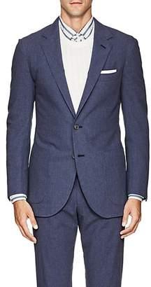 P. Johnson Men's Cotton Seersucker Two-Button Sportcoat - Blue
