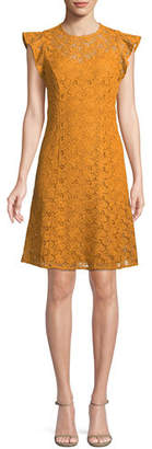 MICHAEL Michael Kors Flounce-Sleeve Lace Shift Dress