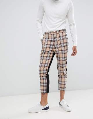Asos Design DESIGN tapered suit trousers in camel check