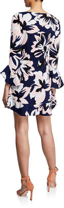 Laundry by Shelli Segal Ruffle-Sleeve Floral Shift Dress