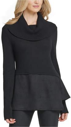 DKNY Mixed Media Cowlneck Peplum-Hem Sweater