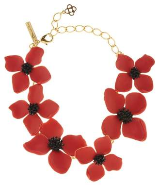 Oscar de la Renta Cayenne Painted Flower Necklace