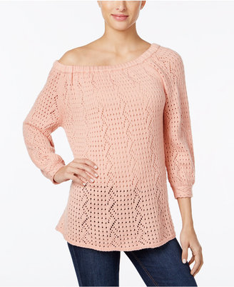 Style & Co Off-The-Shoulder Open-Knit Sweater, Only at Macy's $54.50 thestylecure.com