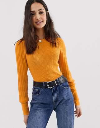 Asos Design DESIGN rib knit sweater in natural look yarn