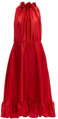 MSGM Ruffle Trimmed Charmeuse Dress - Womens - Red