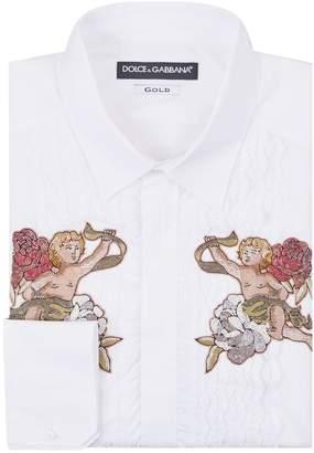 Dolce & Gabbana Embellished Ruffle Trim Shirt