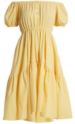 Caroline Constas Bardot Flounce Dress - Womens - Yellow