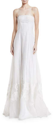 Ralph Lauren Tamia Strapless Embroidered Silk Gown