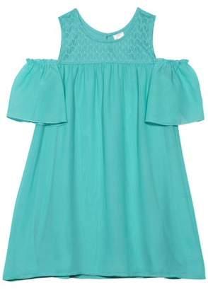 Wonder Nation Girls' Lace Yoke Cold Shoulder Dress