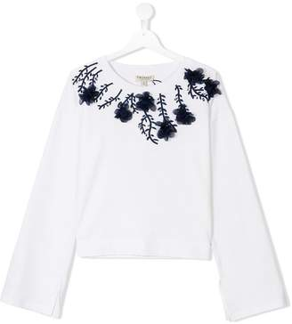 Twin-Set Kids floral applique sweatshirt