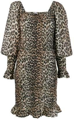Ganni leopard print smock dreess