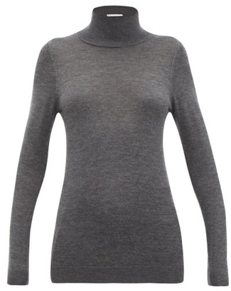 Raey Roll Neck Fine Knit Cashmere Sweater - Womens - Charcoal