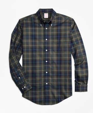 Brooks Brothers Non-Iron Madison Fit Olive Plaid Sport Shirt