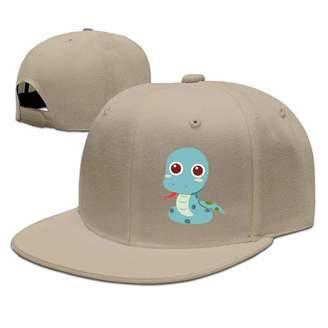 a0628aa5893cd Lara Flat Brim Baseball Cap Cute Cartoon Snake Hip Hop Hat Adjustable  Snapback Hats Unisex
