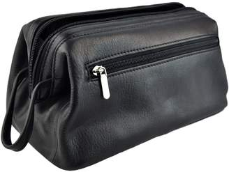 Royce Leather Colombian Vaquetta Cowhide Toiletry Bag (One-Size, Black Pebbled)