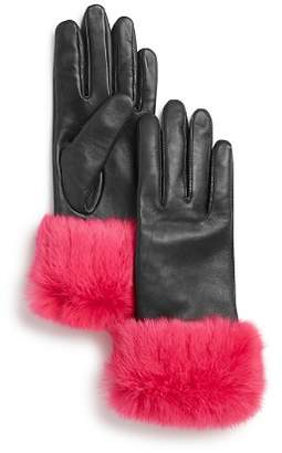 Aqua Rabbit Fur-Cuff Leather Tech Gloves - 100% Exclusive