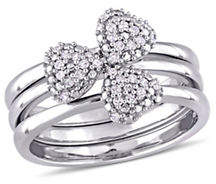HBC CONCERTO 0.17 TCW Diamond Heart Three-Piece Stacking Ring Set in 14K White Gold