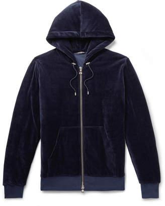 Balmain Cotton-Blend Velvet Zip-Up Hoodie - Men - Blue