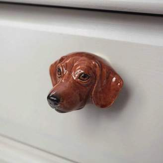 And Mary Porcelain Dachshund Drawer Pull