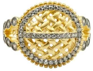 Freida Rothman 14K Yellow Gold & Black Rhodium Plated Textured Ornaments Split Shank Cocktail Ring - Size 7