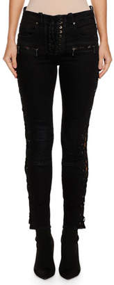 Unravel Lace-Up Waxed Denim Skinny Jeans