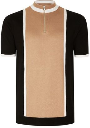 Camel and Black Zip Neck Knitted T-Shirt $50 thestylecure.com