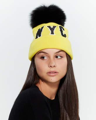 Jocelyn Real Fur Pom-Pom NYC Beanie