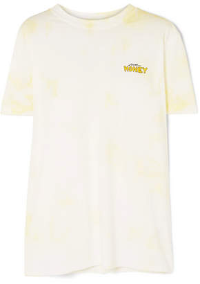 Ganni Verbena Embroidered Tie-dyed Cotton-jersey T-shirt - Yellow