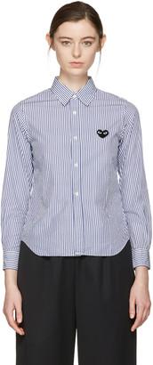 Comme des Garçons Play Blue & White Striped Heart Patch Shirt $270 thestylecure.com