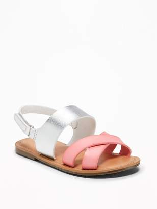 Old Navy Color-Block Cross-Strap Sandals for Toddler Girls