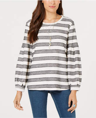 Style&Co. Style & Co Striped Puff-Sleeve Top, Created for Macy's