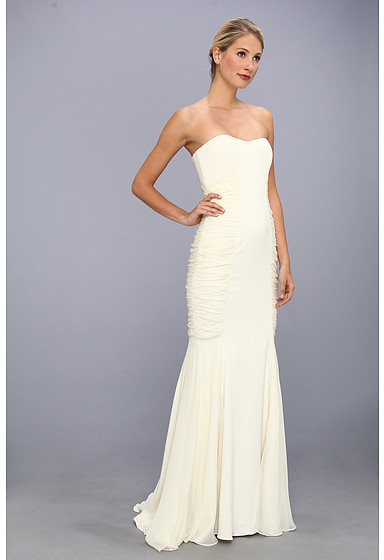 Badgley Mischka Rouched Strapless Gown