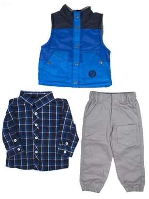 Little Rebels Vest, Plaid Shirt & Jogger Pants, 3pc Outfit Set (Baby Boys & Toddler Boys)