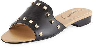 Neiman Marcus Branie Studded Napa Slide Sandal with Golden Hardware
