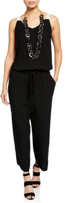 Eileen Fisher V-Neck Sleeveless Drawstring-Waist Silk Jumpsuit