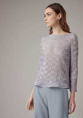 Giorgio Armani Pleated Jersey Blouse With Sheer Vertical Stripes
