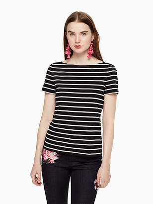 Kate Spade Stripe Essential Tee, Black/Off-White - Size S
