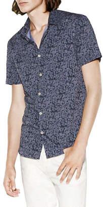 John Varvatos Short-Sleeve Abstract Cotton Sport Shirt