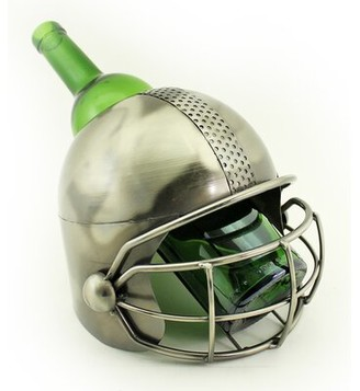Wine Bodies Fraizer Large Football Player Helmet Metal 1 Bottle Tabletop Wine Bottle Holder Wine Bodies