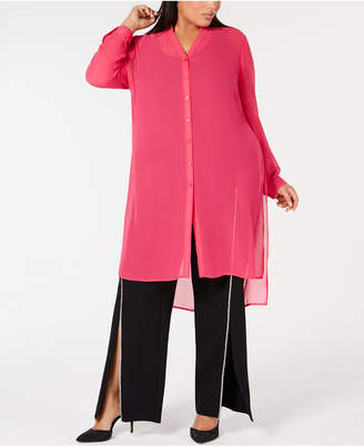 INC International Concepts I.N.C. Plus Size Button-Front Tunic, Created for Macy's