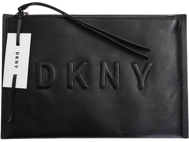 DKNY Black Leather Embossed Clutch