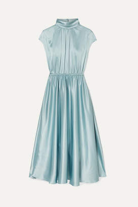 ADAM by Adam Lippes Gathered Silk-charmeuse Turtleneck Midi Dress - Sky blue